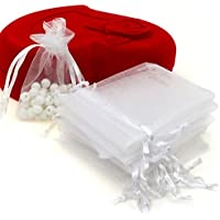 "Dealglad 100pcs Drawstring Organza Jewelry Candy Pouch Party Wedding Favor Gift Bags (5x7"", White)"