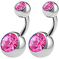 2PCS Surgical Steel Shallow Belly Rings 14 Gauge 1/4 6mm Crystall Ball Non Dangle Navel Bars Piercing Jewelry See More Colors