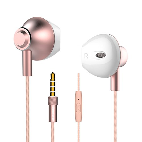 Langsdom  高音質イヤホン EarPods型 重低音 スマホ 密閉型 iphone/android多機種対応 マイク付き 外部ノイズ遮断 グレー&ゴールド&ピンクゴールド F9 (女性(ピンクゴールド))
