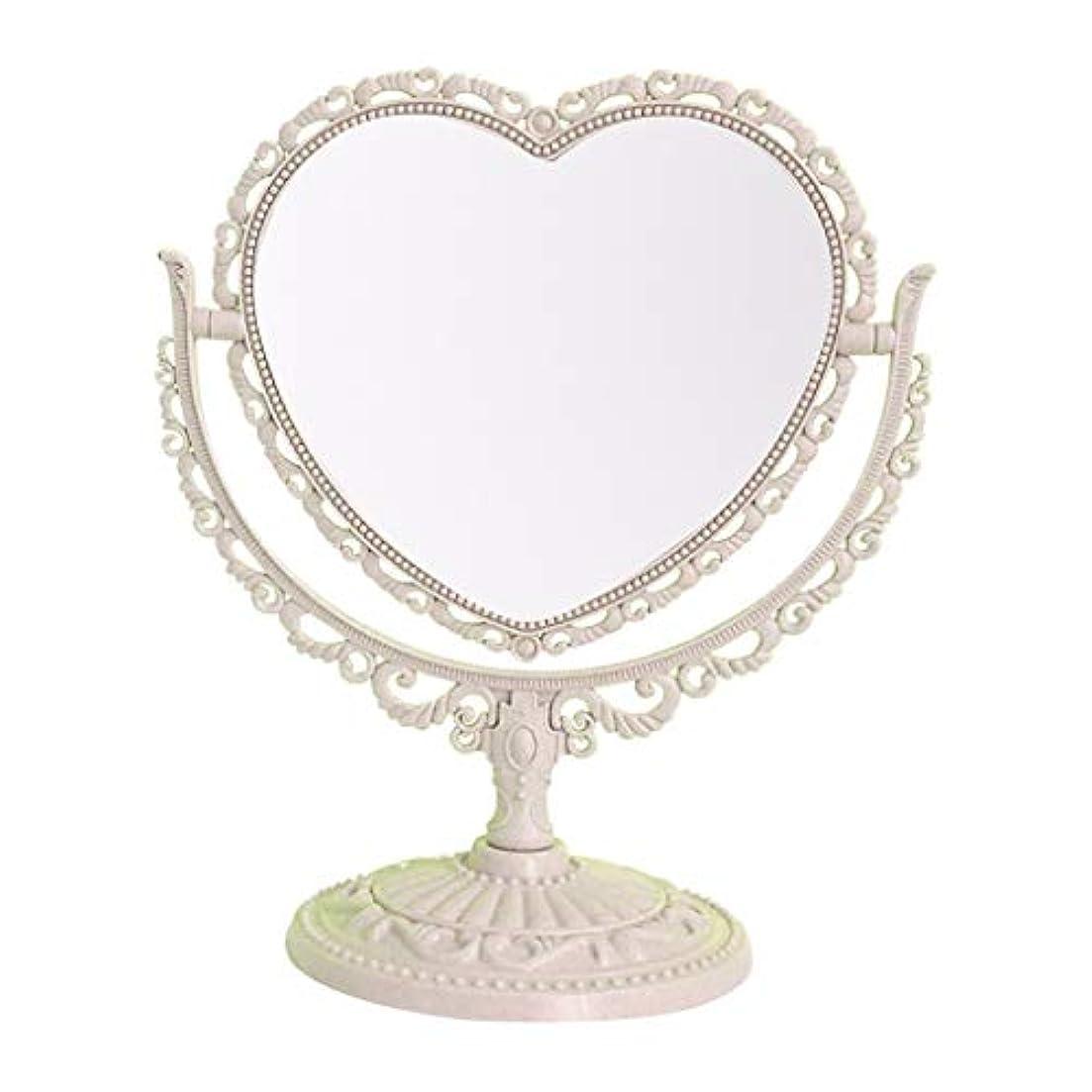 愛撫特徴づける里親小型コンパクト化粧鏡、 360°回転 卓上ミラー 両面 現代の 美容化粧鏡 強化ガラス ビンテージ?スタイル 化粧鏡 卓上ミラー (Color : Beige)