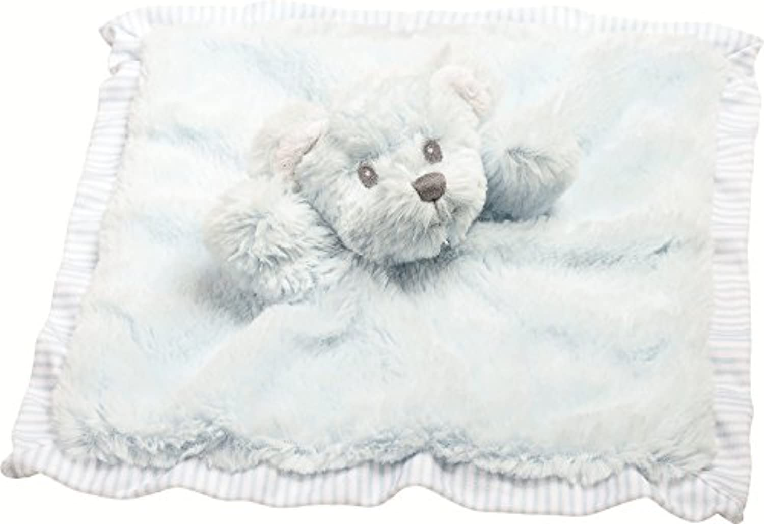 Suki Baby Hug-a-boo Bear Finger Puppet Blankie With Striped Cotton Edge And