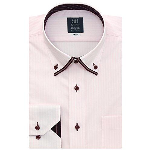 BRICK HOUSE 長袖 ワイシャツ 形態安定 ショート マイター ドゥエボットーニ ボタンダウン ピンク×ストライプ織柄 BXLM24517G-80 ピンク・レッド M-84
