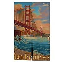 ゴールデンゲートブリッジのサンフランシスコ カリフォルニア州 のれん 暖簾 目隠し キッチン リビング 飲食店 出入り口 幅86cm×丈143cm タペストリー 間仕切り おしゃれ