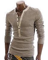 SHEYA Tシャツ メンズ 無地 長袖 カットソー ヘンリーネック ロンT カジュアルシャツ トップス 部屋著 秋 冬