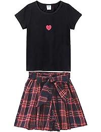 女の子 半袖 ショートパンツ 二点セット 子供服 tシャツ 可愛い ガールズ ミニスカート チェック柄 カジュアル 人気普段着 通園通学 春夏 110~160cm(4タイプ&2色 )