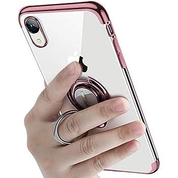 iPhone XR ケース リング付き 透明 TPU マグネット式 車載ホルダー対応 全面保護 耐衝撃 軽量 薄型 携帯カバー スクラッチ防止 滑り防止 アイフォンXrケース 6.1インチ専用 一体型(iPhone Xr ケース, ローズゴールド)