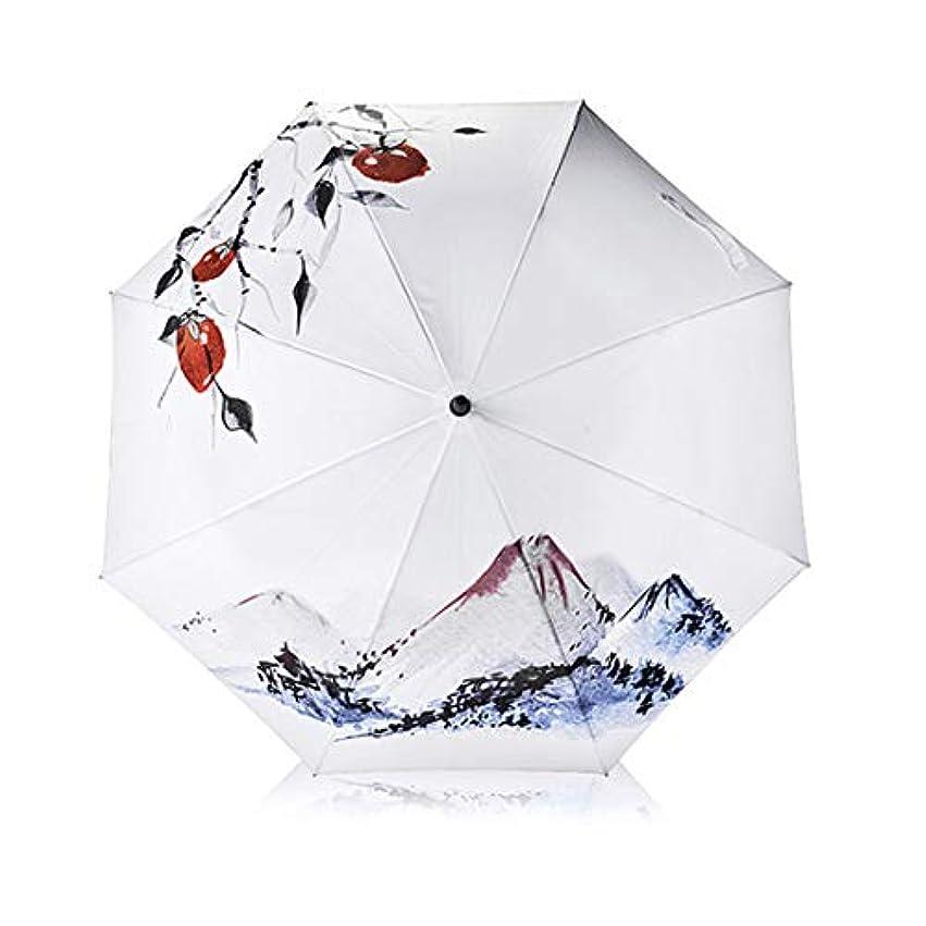 外交官受取人ジャンプHOHYLLYA 絶妙な印刷ロングハンドル傘ホワイトゴルフ日紫外線保護防水傘黒傘 sunshade (色 : ホワイト)