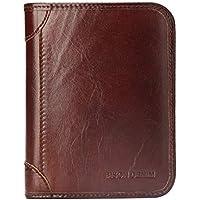 BISON DENIM RFID Blocking Bifold Wallet Front Pocket Genuine Leather Wallets Thin Credit Card Holder for Mens Womens