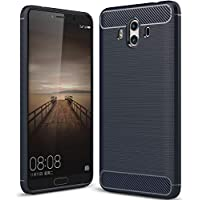 Huawei Mate8 Armor ケース, Soft Carbon Fiber Scratch Drawbench Texture Bumper Frame Ultra Hybrid Thin カバー, TAITOU Cool Ultralight Slim Anti-Drop Protect Phone ケース For Huawei Mate 8 Blue