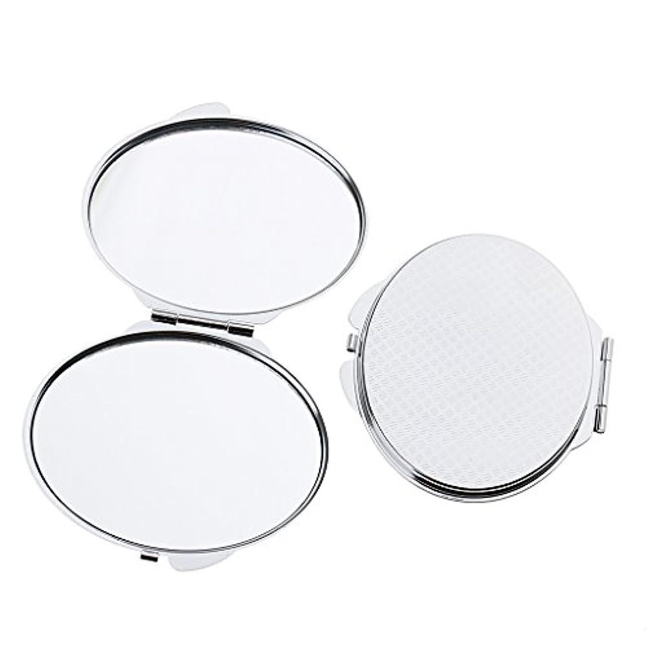 賠償パドル破裂化粧鏡 ポケット メイクミラー 鏡 両面 折りたたみ メイクアップ 2タイプ選べる - 丸い