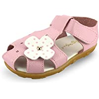 SENFI Girl's Sandal Closed-Toe Leather Floral Casual Princess Flat Shoes(Toddler/Little Kid)