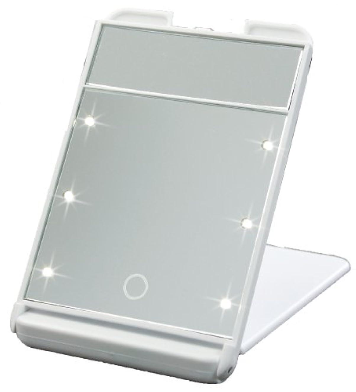 フルーティー販売員好き3倍拡大鏡付 LED コンパクト ブライトニングミラー タッチミニ ホワイト YLD-1600