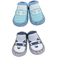 2 Pairs of Baby Boys Girls Indoor Slippers Anti-Slip Shoes Socks 9-18 Months (9-18 Months, Owl and Raccoon)
