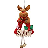 Airlove 1ピースクリスマス木製看板愛らしい男の子と女の子人形ぶら下げクリスマスオーナメント用ホリデードアツリー装飾クリスマスギフト,エルク