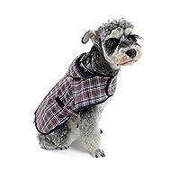 HomeMiYN 帽子付き 梅雨対策 軽量 ペット服 通気性 防水 レインコート カッパ  小型犬 中型犬  雨具 かわいい チェック柄