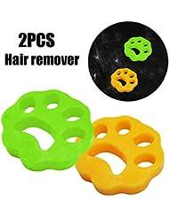 2PCSクリーニングボール洗濯機脱毛器 - ペットの毛髪の服のヘアリムーバー乾燥機 - ペットの毛の取り外しパッド(ビスコース)