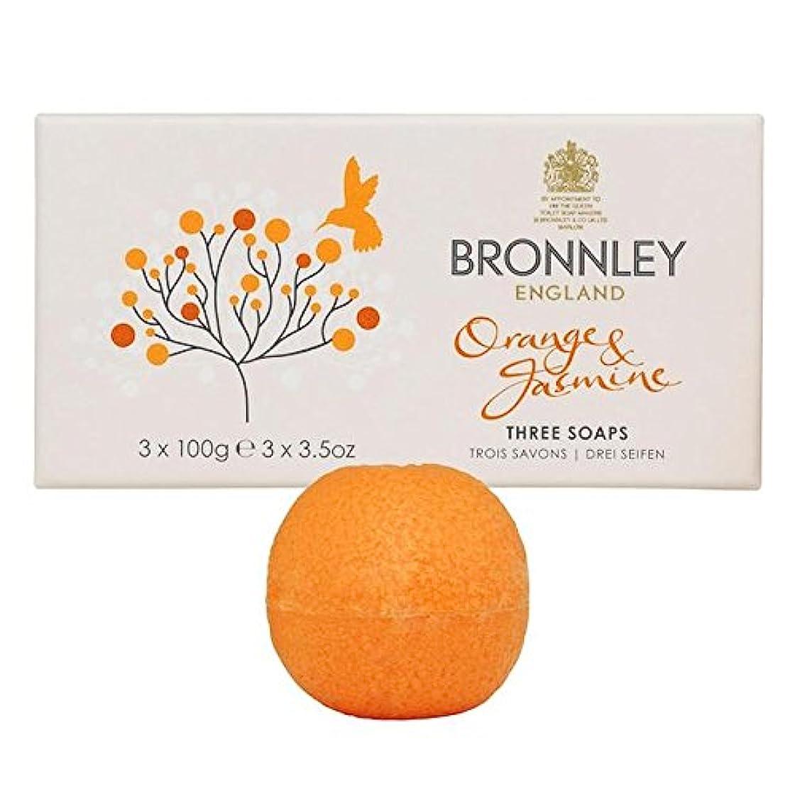 の配列段落出血オレンジ&ジャスミン石鹸3×100グラム x2 - Bronnley Orange & Jasmine Soaps 3 x 100g (Pack of 2) [並行輸入品]