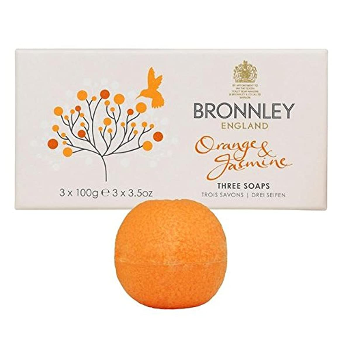 Bronnley Orange & Jasmine Soaps 3 x 100g (Pack of 6) - オレンジ&ジャスミン石鹸3×100グラム x6 [並行輸入品]