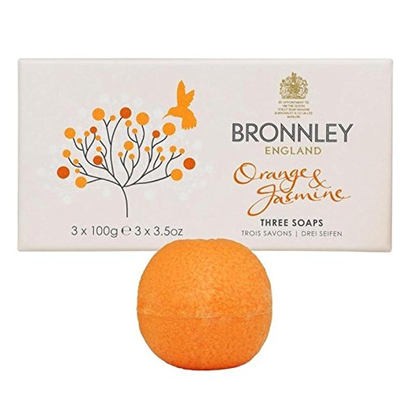 廃止申し立て滑り台オレンジ&ジャスミン石鹸3×100グラム x2 - Bronnley Orange & Jasmine Soaps 3 x 100g (Pack of 2) [並行輸入品]