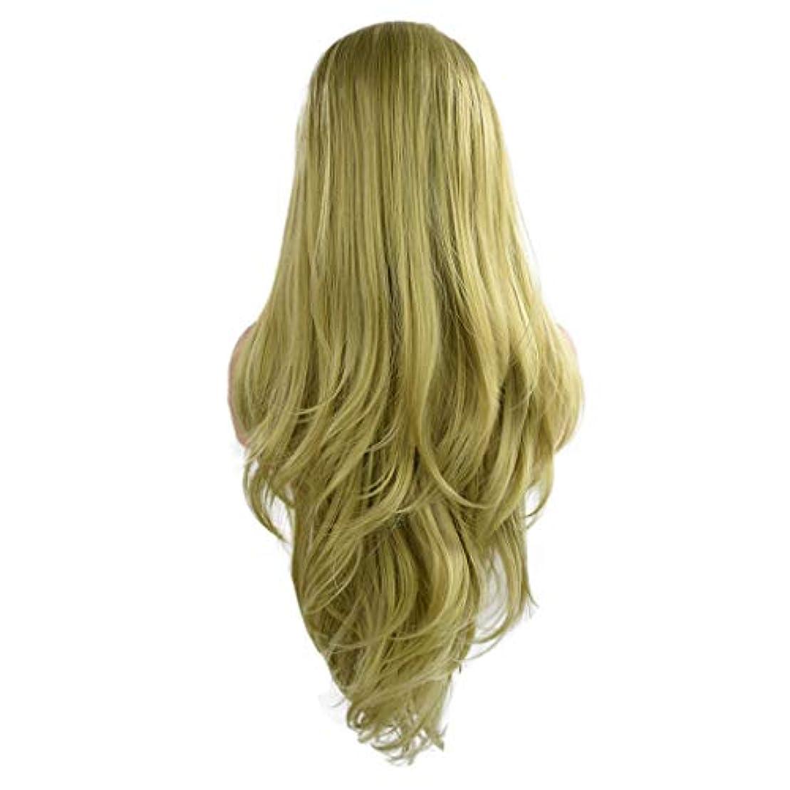 接尾辞好奇心盛快適女性の緑の長い巻き毛のフロントレースかつらファッションポップかつら24インチかつら