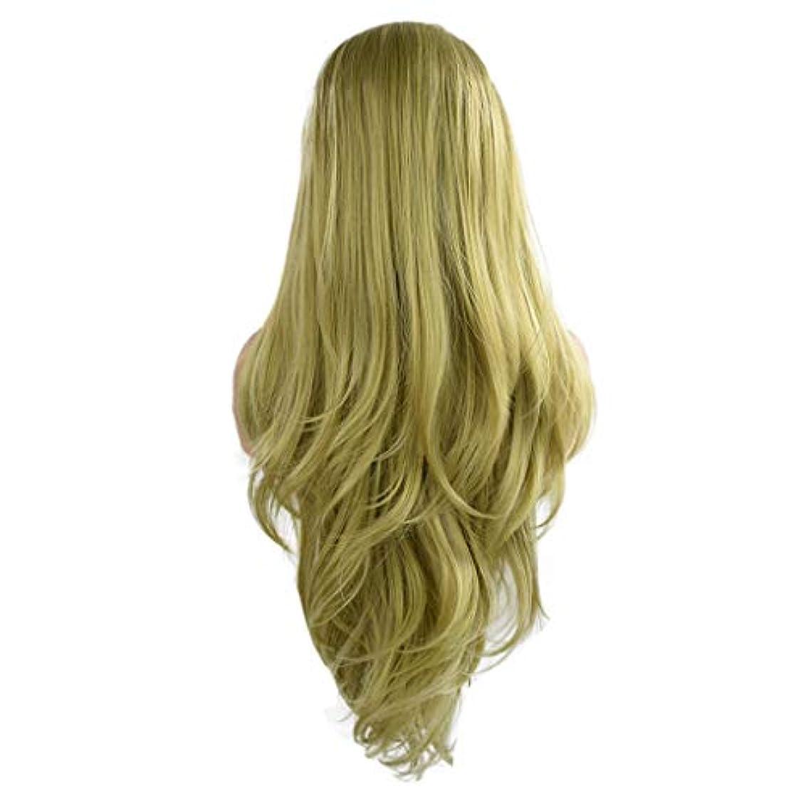 側水を飲む工業化する女性の緑の長い巻き毛のフロントレースかつらファッションポップかつら24インチかつら