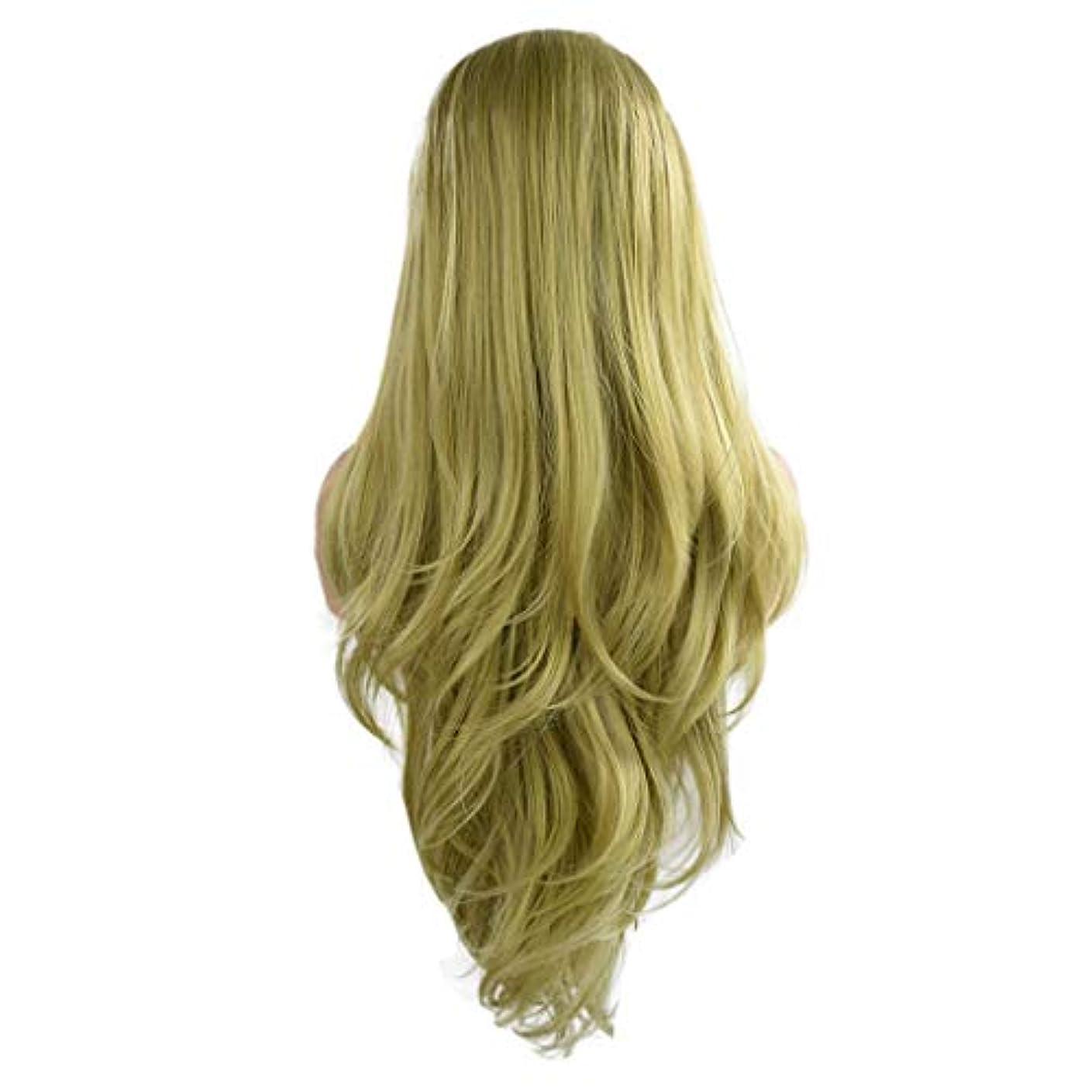 マウスピース呼吸シニス女性の緑の長い巻き毛のフロントレースかつらファッションポップかつら24インチかつら