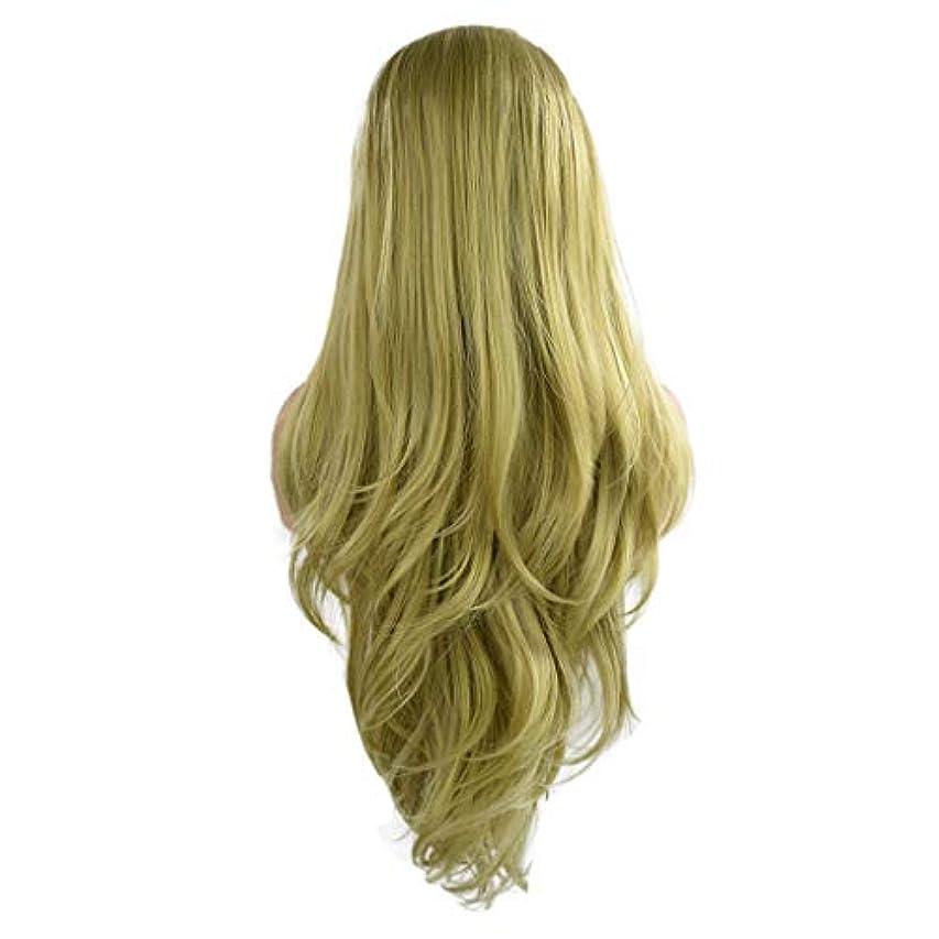持続するプラットフォーム天皇女性の緑の長い巻き毛のフロントレースかつらファッションポップかつら24インチかつら