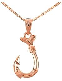 レイラニ ハワイアンジュエリー 釣り針 フィッシュフック ペンダント ネックレス シルバー 925(ピンクゴールドコーティング)チェーン付