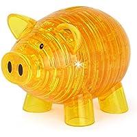 幼児期のゲーム インテリジェンスおもちゃ漫画かわいい豚銀行3Dステレオクリスタルブロックは、おもちゃを組み立てる(黄色)