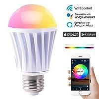 HAODENG WIFI スマート LED電球 RGBW(1600万色+電球色+昼光色 )AlexaとGoogle Homeで使用 60W相当 E26口金 非常灯 玄関灯 家電照明 超省エネライト 調光調色ランプ ワイヤレス APPコントロール 目覚め タイマー機能