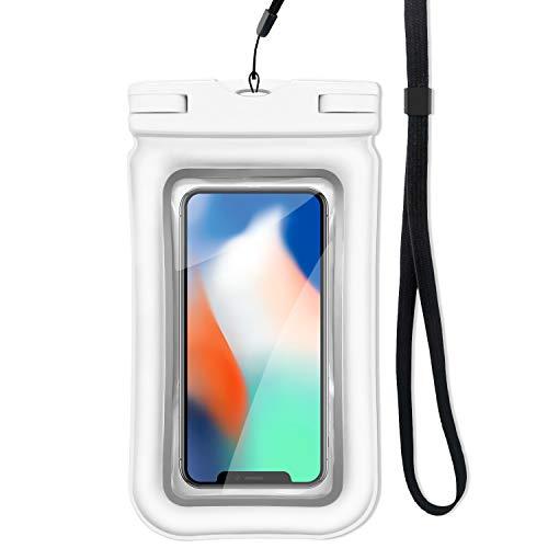 ロベンズナオミ 防水ケース スマホ用 フローティング構造 ストラップ付き IP68防水防塵 指紋認証 iPhone/Android対応 完全防水ポーチ (ホワイト)