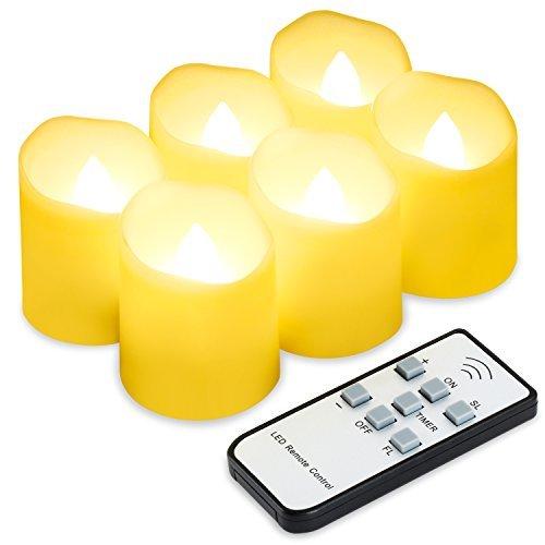 RoomClip商品情報 - HotTime LED キャンドルライト〔6個セット〕揺らぐ炎 リアル感 リモコン付き 間接 照明 スタンド 電気ろうそく クリスマス/結婚式/誕生日などに最適
