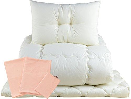 エムール 日本製 ベッド用 布団セット 『ルミエール2』 シングル 綿100% 防ダニ 抗菌 防臭 綿混カバー ピンク -