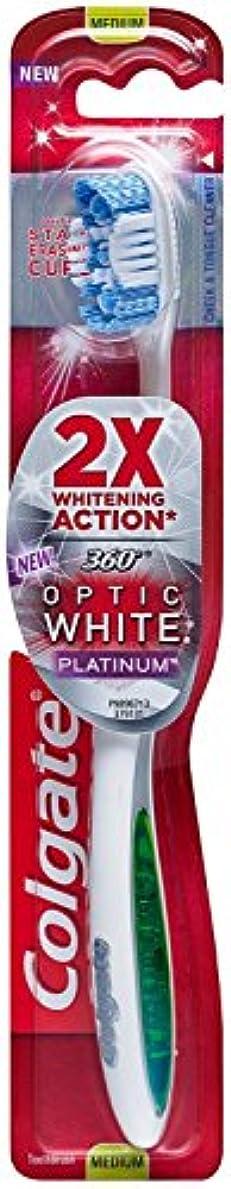 その間行政キャプションColgate 360オプティックホワイトプラチナ歯ブラシミディアム