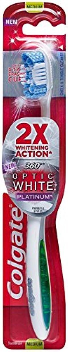 コンドームビーム旋回Colgate 360オプティックホワイトプラチナ歯ブラシミディアム