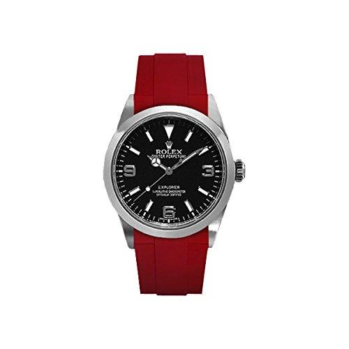[ラバービー] RubberB ラバーベルト ROLEX エクスプローラーI(39mm/2010年以降モデル対応)専用ラバーベルト(尾錠付き)(レッド)※時計は付属しません(Watch is not included)[並行輸入品]