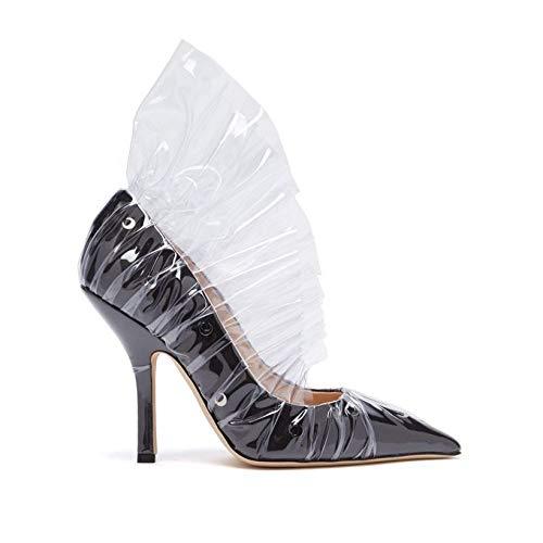 [ミッドナイト 00] レディース シューズ・靴 パンプス Shell crescent satin & PVC ruffle pumps [並行輸入品]