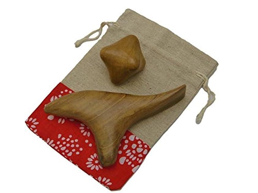 把握素子見捨てられたImport miscellaneous goods 木製 指圧 棒 ツボ 押し マッサージ 玉 リンパ 足 手 つぼ かっさ 2
