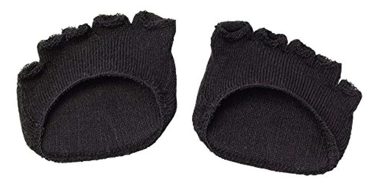 ネット拾う一時停止綿混サラリ洗える足まめパッド(1足組) ブラック
