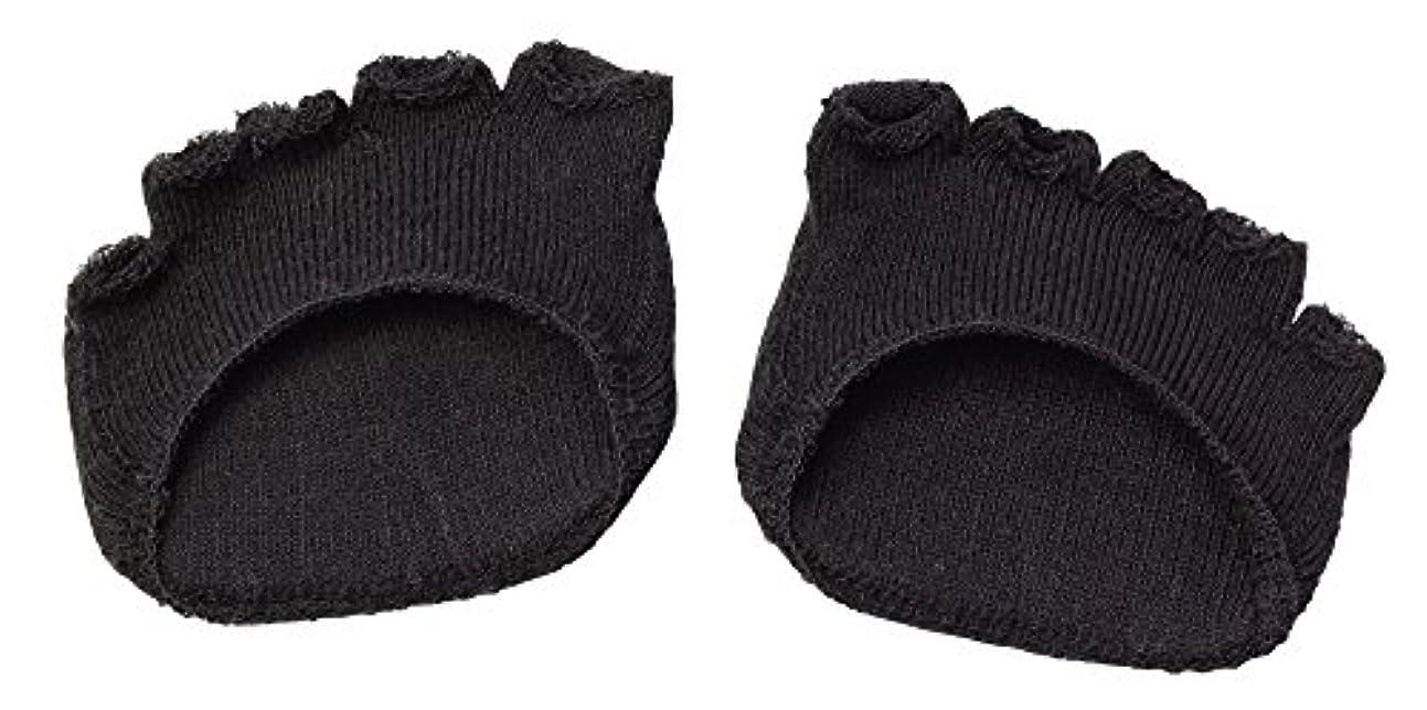 綿混サラリ洗える足まめパッド(1足組) ブラック