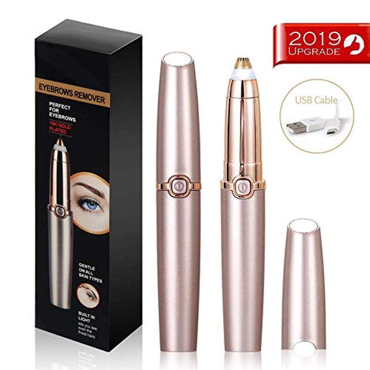 濃度一次におい眉毛脱毛器ペン、女性用の完璧な精密電動眉毛トリマー、ビルトインLEDライト、USB充電式、クリーニングブラシ