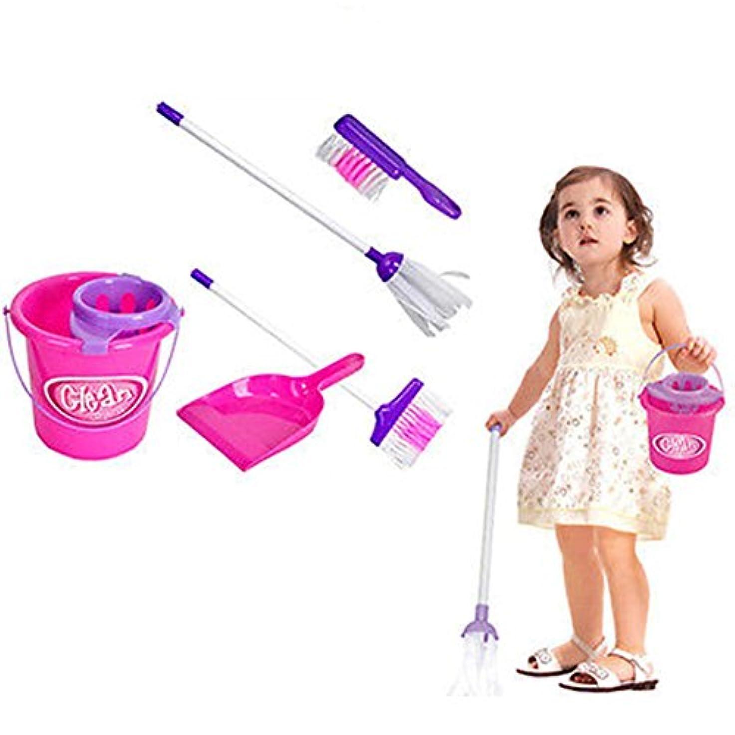 滞在失礼なおいしいgoupgolboll-5ピース子供プレイハウスクリーニングモップほうきバケツブラシ塵取りセットふり玩具