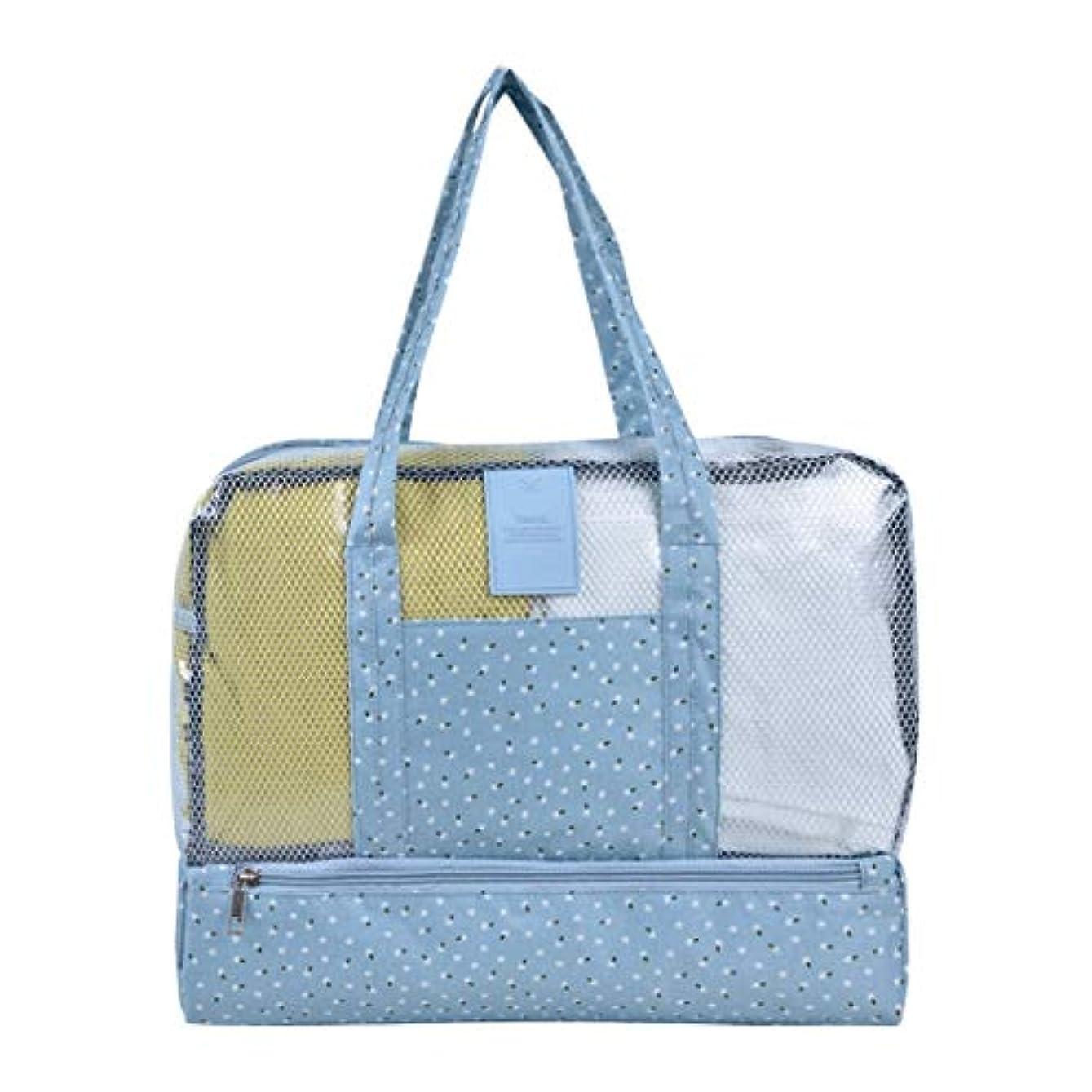めったに説教選挙BALLEEY 屋外旅行ビーチスイミングバッグフローラルドライとウェットセパレーションバッグ男性と女性の防水ミイラ収納バッグ。ファッション収納引き出しタイプ (色 : Blue small floral)