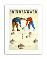 Winter Curling Grindelwald Switzerland Picture Sport Canvas Art Print