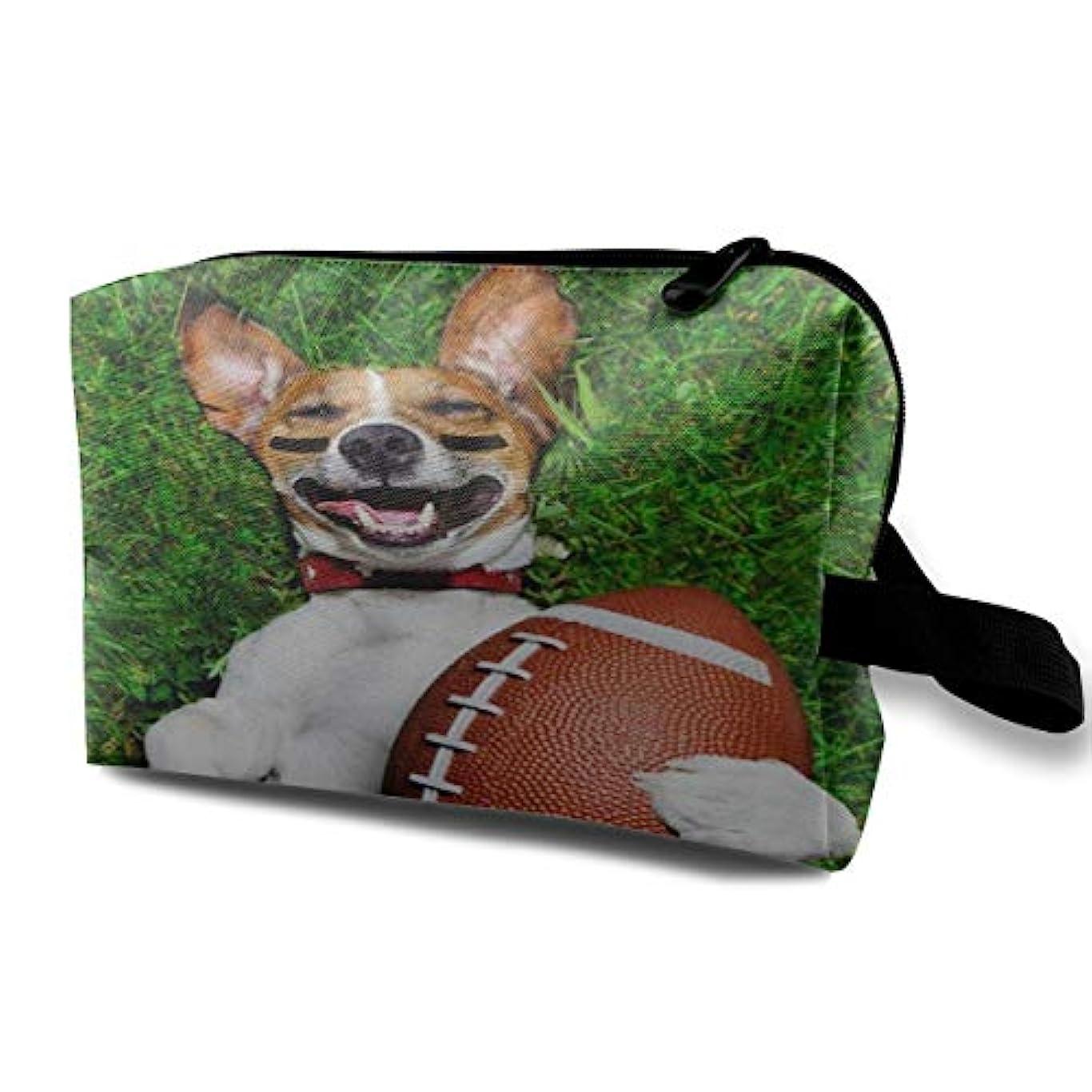 成り立つ優越ミニAmerican Football Dog Pattern 収納ポーチ 化粧ポーチ 大容量 軽量 耐久性 ハンドル付持ち運び便利。入れ 自宅?出張?旅行?アウトドア撮影などに対応。メンズ レディース トラベルグッズ