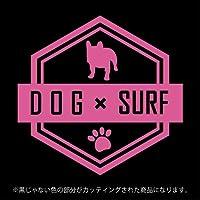 フレンチ・ブルドッグ DOG × SURFステッカー ペット サーフィン カッティングシート シール(12色から選べます) (ピンク)