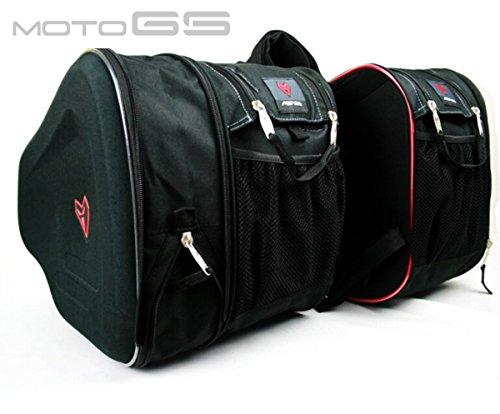 MOTOGS バイク用 ツーリングバッグ サイドバッグ 上質 大容量 サドルバッグ (拡張機能あり) ブラック