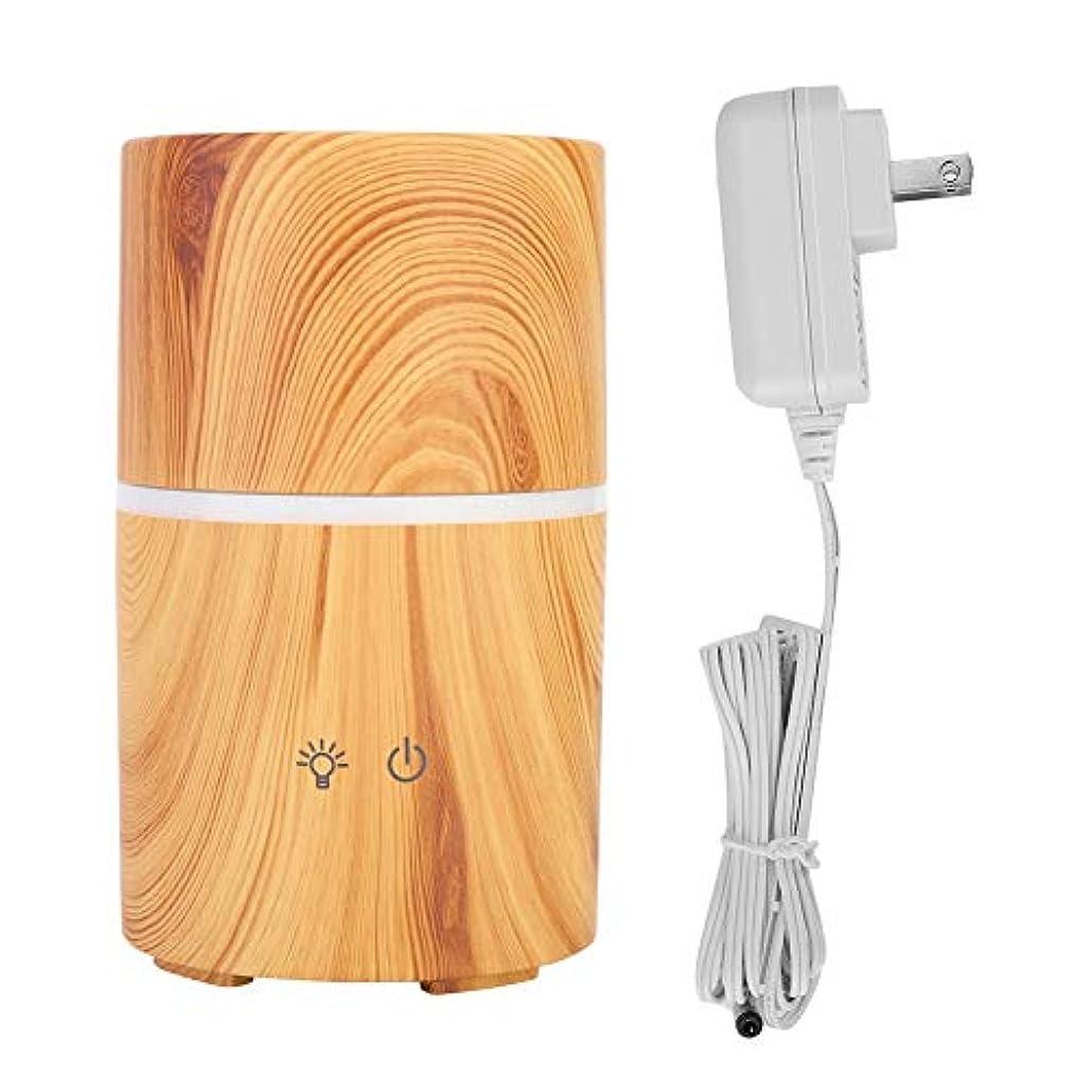 刺す一時解雇する物理アロマセラピーディフューザー、多目的木目LEDインテリジェントディフューザーワイヤレススピーカー加湿器家庭用装飾(USプラグ100-240V)