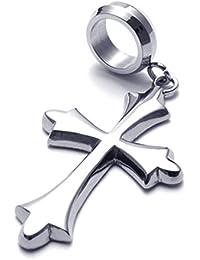 [テメゴ ジュエリー]TEMEGO Jewelry メンズステンレススチールヴィンテージペンダントゴシッククロスネックレス、シルバーポリッシュ[インポート]