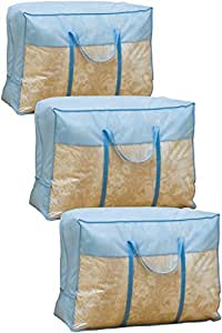 アストロ 羽毛布団収納ケース 3枚組 持ち手付き 青色 厚手不織布製 102-15